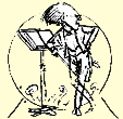 The MGM logo: a hand-drawn cartoon of Mahler at the podium, glaring at the audience