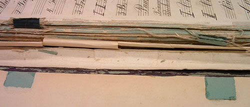 Colour image showing the tape and threads in volume 2 of Symphony 1, ACF1
