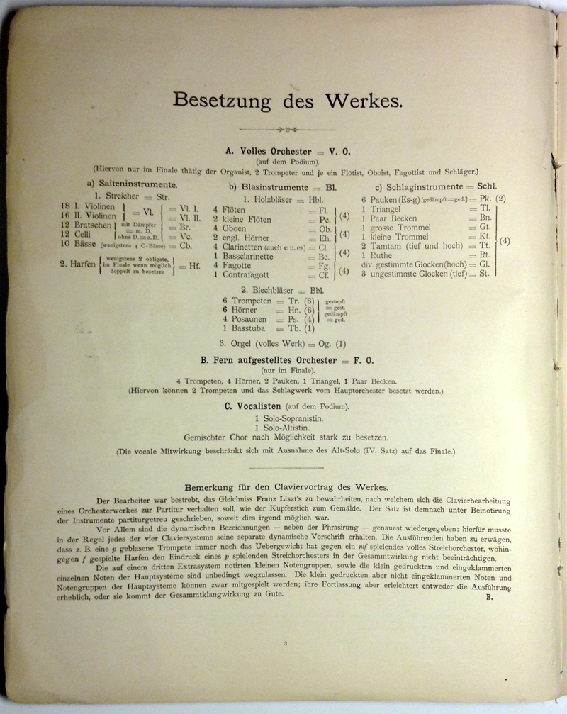 colour facsimile of the title-page verso of the first edition of Hermann Behn's arrangement for two pianos of Mahler's Second Symphony