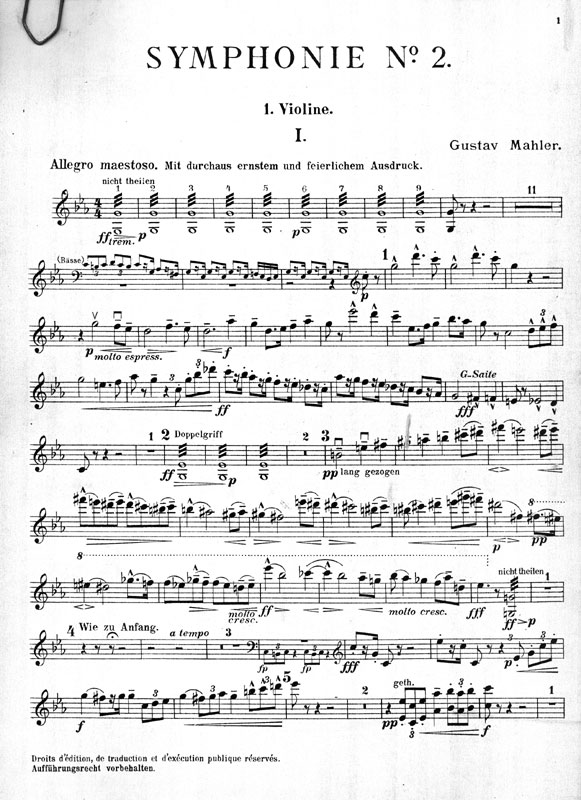 Orchestra part, first edition, first issue, violin 1, p. 1.
