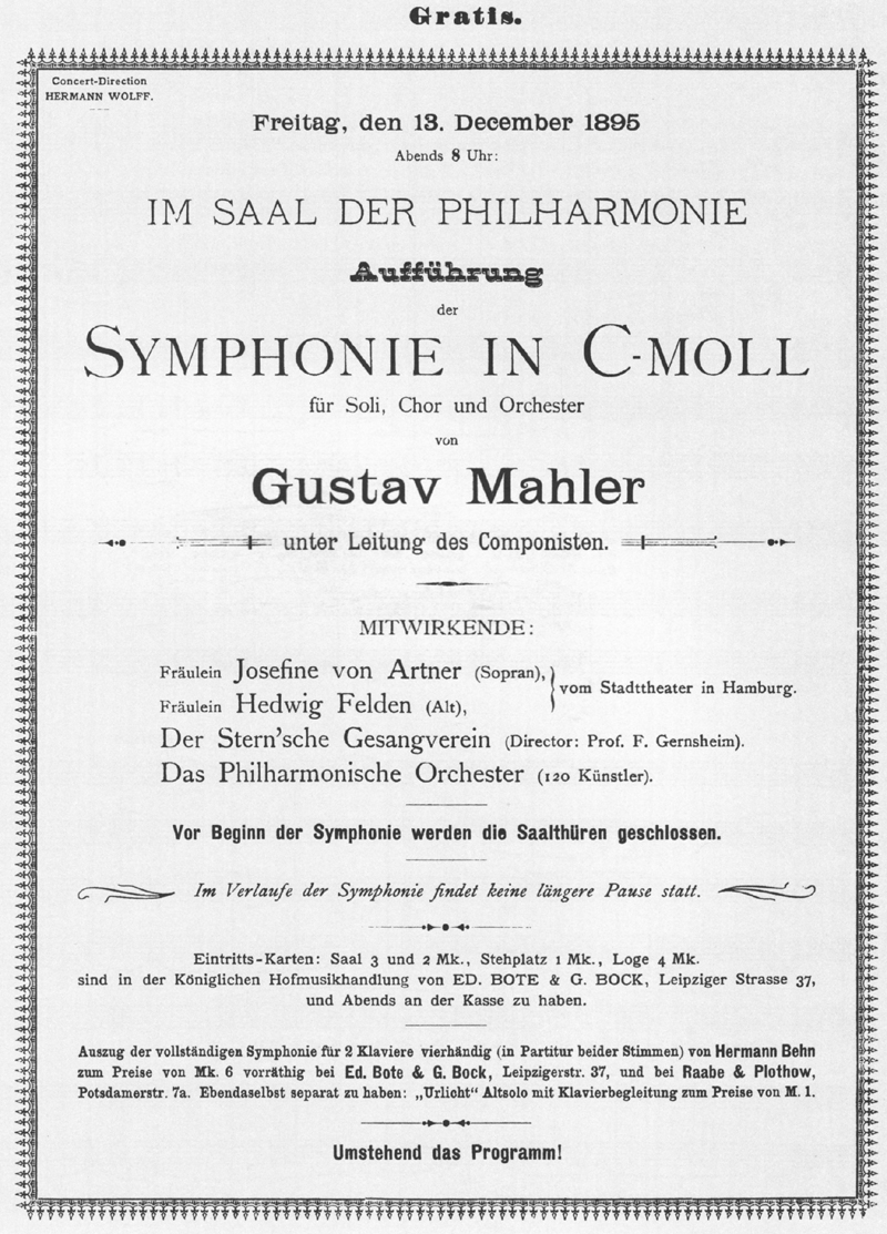 Greyscale image ofthe handbill for the first complete performance of the Second Symphony