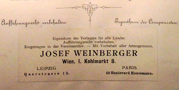 A colour image of the Weinberger paste-over on the title page of a copy of the second issue of the full score of Mahler's Second Symphony